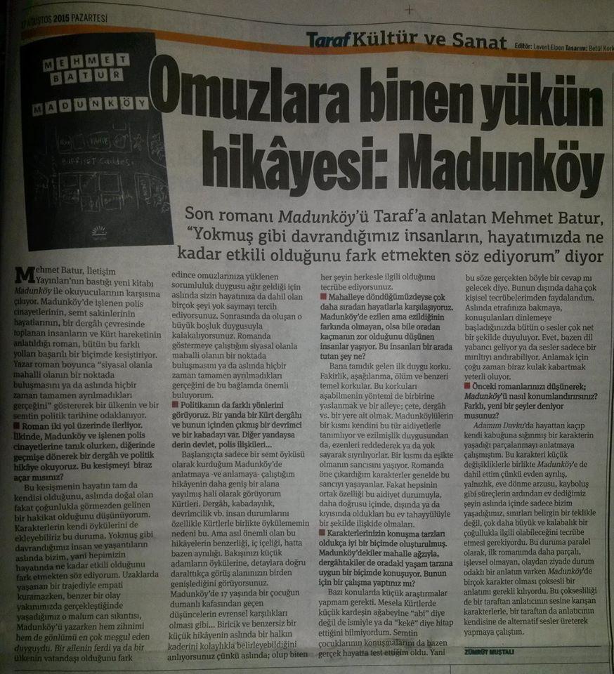 Söyleşi: Omuzlara binen yükün hikâyesi: Madunköy (Taraf Gazetesi)